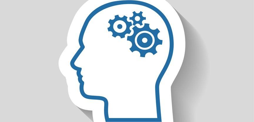 desenho de cabeça humana com engrenagens no cérebro