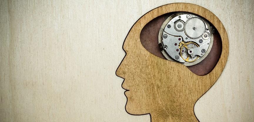 desenho de cabeça humano com engrenagens no lugar do cérebro