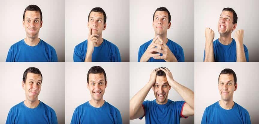 fotos de homem com diferentes reações