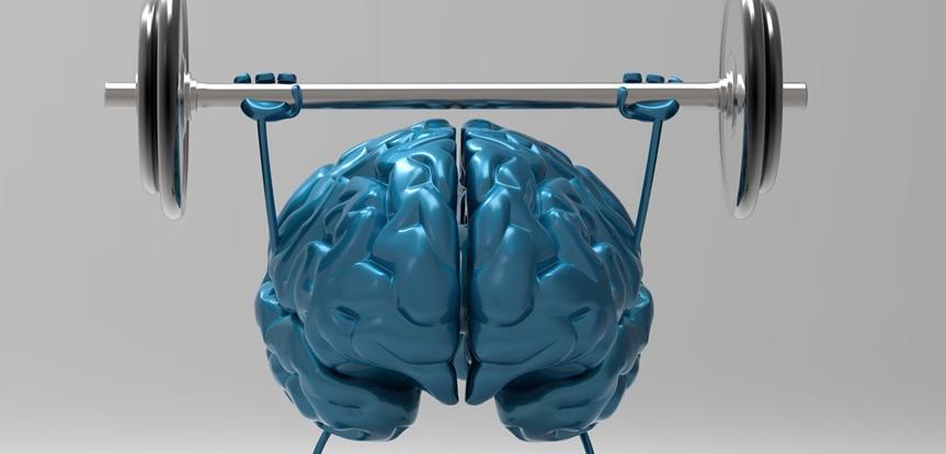 desenho de cérebro fazendo exercícios
