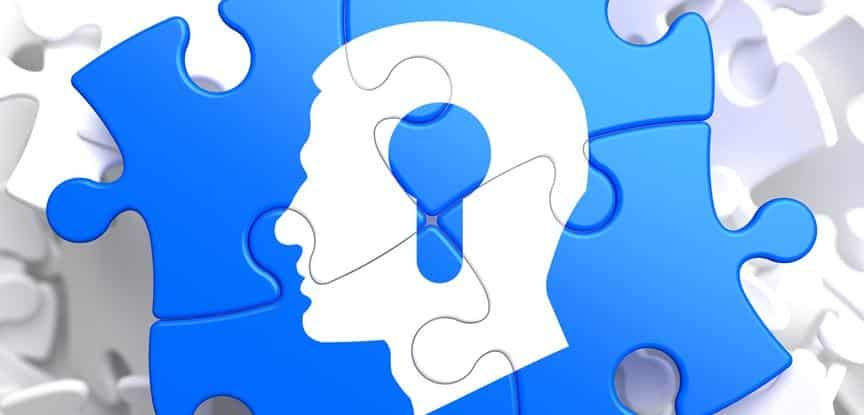 desenho de quebra cabeça com cabeça humana
