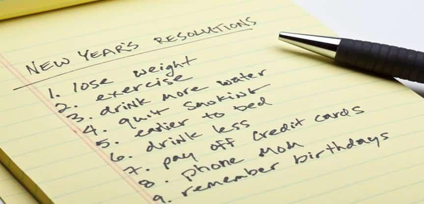 lista de promessas para o ano novo