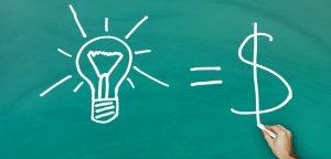 desenho de lâmpada, sinal de igual e cifrão