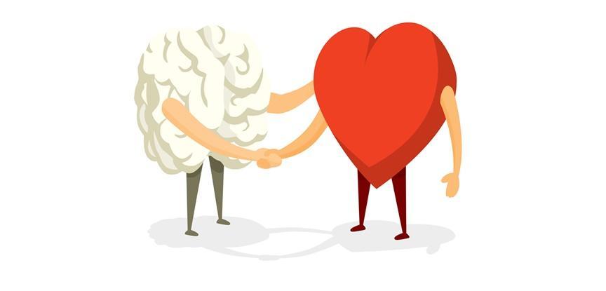 desenho de coração e cérebro apertando as mãos