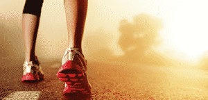 Pés de atleta na estrada — Fotografia de Stock #28423575 Athlete runner feet running on road closeup on shoe. woman fitness sunrise jog workout concept.