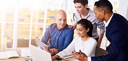 Entrepreneurs engaging in an online conversation