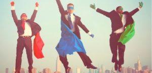 Empresários de super-herói voando