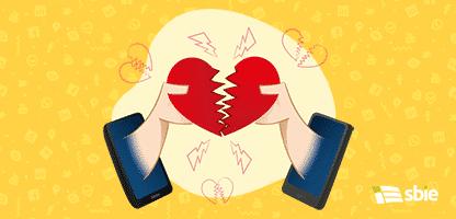 Pessoas móveis ilustração de célula em uma separação virtual amorosa