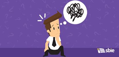 Confuso com a ideia de resolver o problema do empresário– ilustração de bancos de imagens