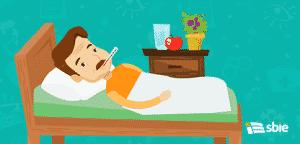 Homem doente com termômetro na cama