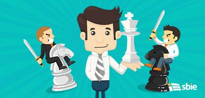 Conjunto de empresário a lutar, jogar xadrez