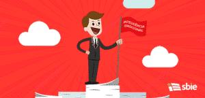 Homem de negócios de pé em uma pilha enorme torre de papéis e entregando a bandeira vermelha. Trabalho é concluído bem sucedida