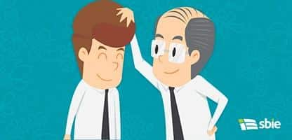 Empresário bem sucedido e empresário malsucedido. Desenhos animados de b– ilustração de bancos de imagens