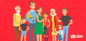 Feliz grande família caucasiana com muitas crianças retrato com todas as crianças e os bebés e os pais cansados ilustração colorida