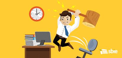 Trabalho duro. Empresário com raiva. Ilustração em vetor plana– ilustração de bancos de imagens