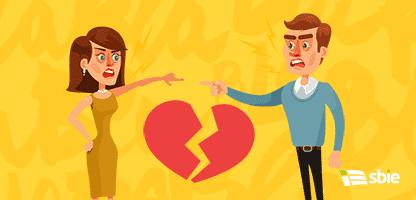 Personagens de homem e mulher do casal brigam. Ilustração em vetor plana dos desenhos animados– ilustração de bancos de imagens