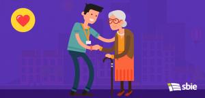 Voluntário do homem cuidando da mulher idosa– ilustração de bancos de imagens