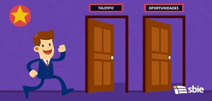 Empresário que atravessaram a porta para o sucesso– ilustração de bancos de imagens