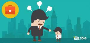Empregado e chefe zangado– ilustração de bancos de imagens