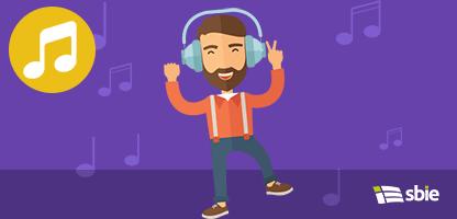 Jovem com fone de ouvido– ilustração de bancos de imagens