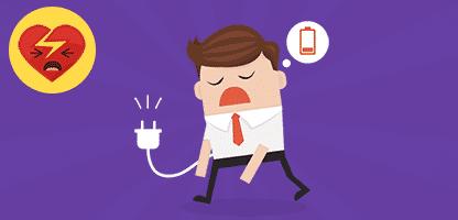 Conceito de negócio, empresário se sentindo cansada e baixa bateria. VEC– ilustração de bancos de imagens