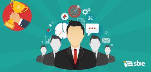 Ilustração plana a equipa de gestão– ilustração de bancos de imagens