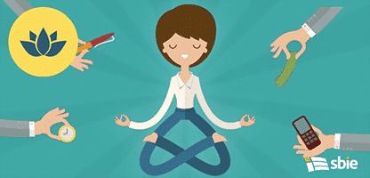 Empresária fazendo yoga– ilustração de bancos de imagens